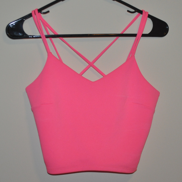 8f0fc1758edab NWT Express Hot Neon Pink Crop Top